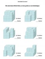 Arbeitsblatt Geometrie - fehlende Würfel zählen Klasse 4