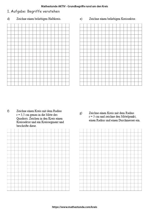 Arbeitsblätter Kreis | Kreis Umfang Flächeninhalt berechnen