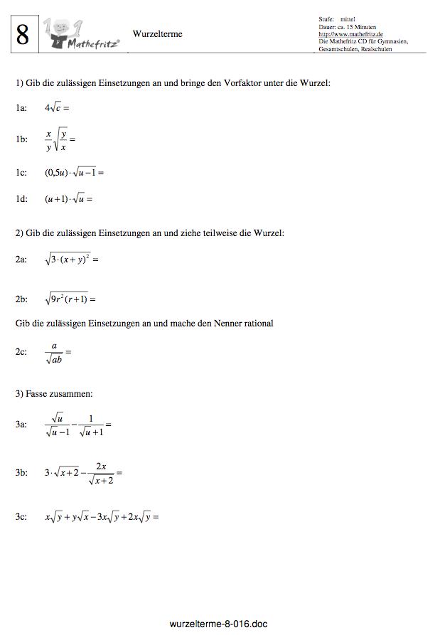 Wurzeln vereinfachen und berechnen: Matheaufgaben Wurzeln