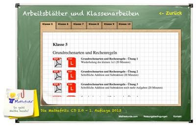 Mathefritz CD 2.0 online Aufgabenblätter kostenlos ausdrucken