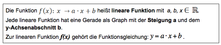 Definition lineare Funktion