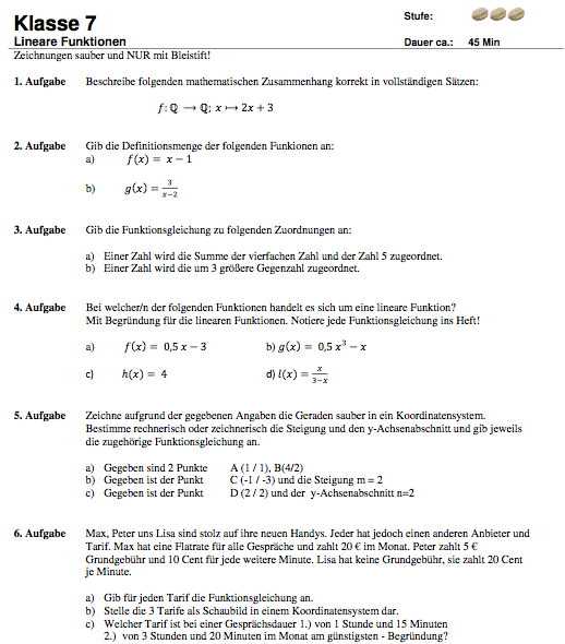 Lineare Funktion Punkt-Steigungsform Aufgabenblatt