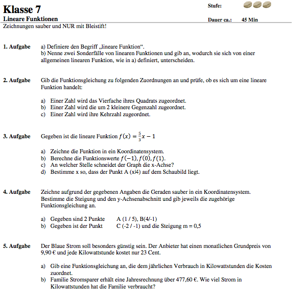 Lineare Funktionen Klassenarbeit Klasse 8: Übungsblatt