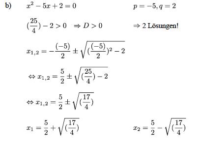 Übungsblatt quadratische Gleichungen lösen: ausführliche Lösungen