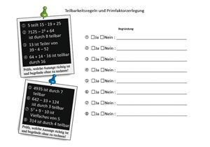 Matheaufgaben Teilbarkeit Differenzierte Aufgaben Zur