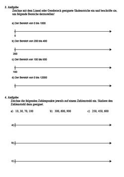 Zahlenstrahl zeichnen |Arbeitsblätter zum Zahlenstrahl von Mathefritz