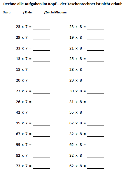 Kopfrechnenaufgaben zum Ausdrucken mit Lu00f6sungen Klasse 3 4 5 6