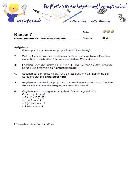 Arbeitsblatt lineare Funktionen [Grundverständnis] Matheaufgaben ...