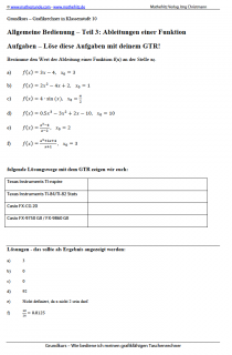 Arbeitsblatt Ableitungen mit dem Grafikrechner berechnen