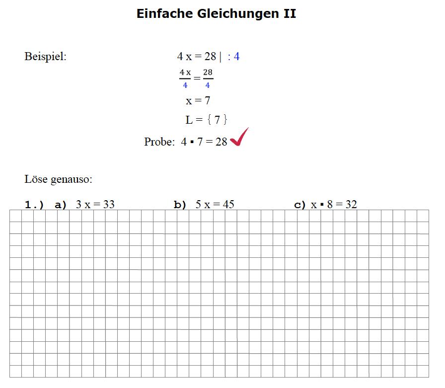 Gleichungen Aufgaben Klasse 7: Gleichungen lösen