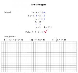 Einfache Gleichungen mit Beispielaufgabe 1