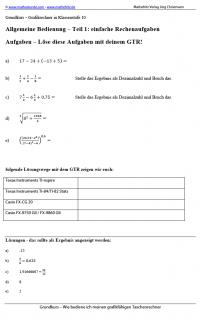 Arbeitsblatt einfache Rechenaufgaben mit dem Grafikrechner