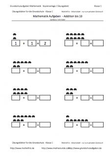 Addieren mit Symbolen, Vorlage Arbeitsblatt