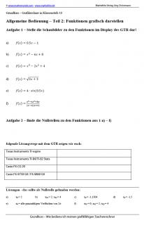 Arbeitsblatt Funktionen mit dem Grafikrechner darstellen und auswerten