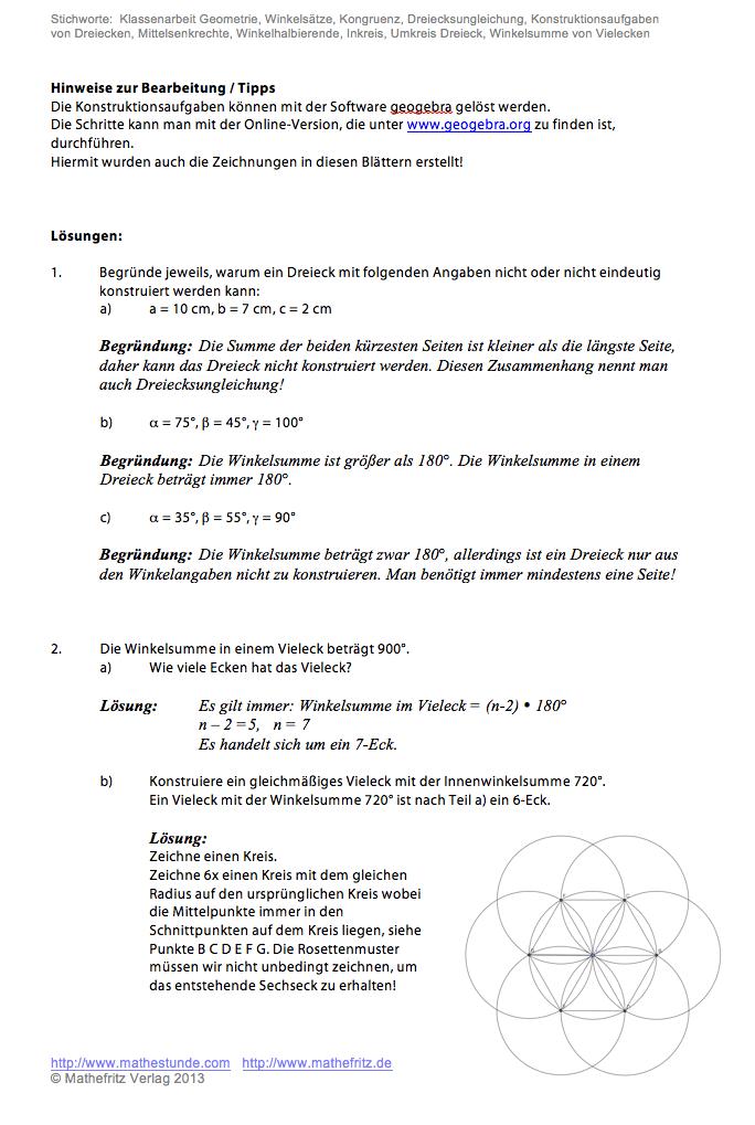 Geometrie Dreiecke konstruieren - Arbeitsblätter Dreieckskonstruktion