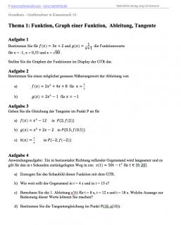 Arbeitsblatt Thema 1: Graph einer Funktion, Ableitung, Tangente