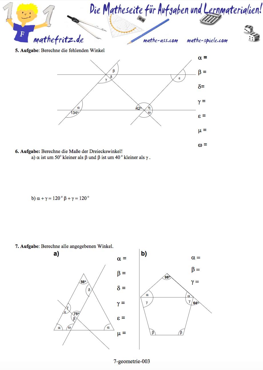 Geometrie Klasse 7 Arbeitsblatt von Mathefritz | Winkel und Symmetrie