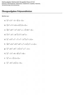 Matheaufgaben Polynomdivision Klasse 9
