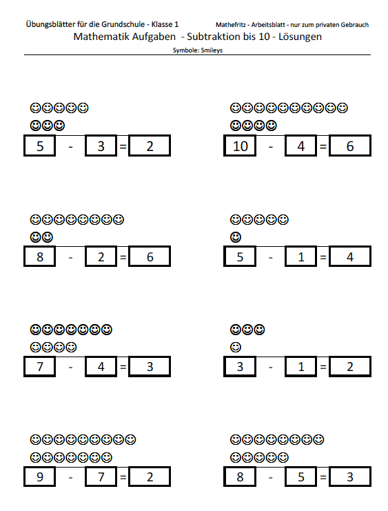 Subtraktion bis 10 mit Symbolen   Matheaufgaben Klasse 1