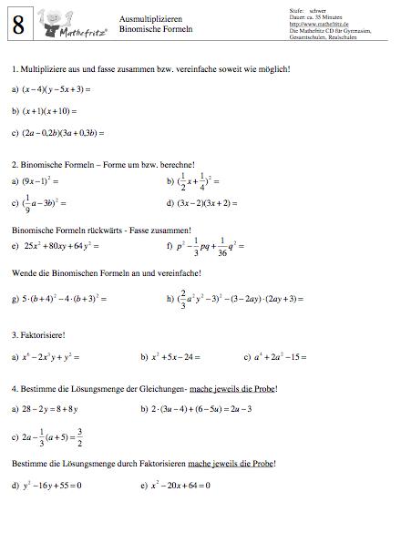 Binomische Formeln Arbeitsblatt | Übe die binomischen Formeln mit ...