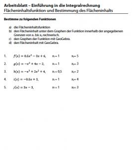 Arbeitsblatt zur Berechnung der Flächeninhaltsfunktion