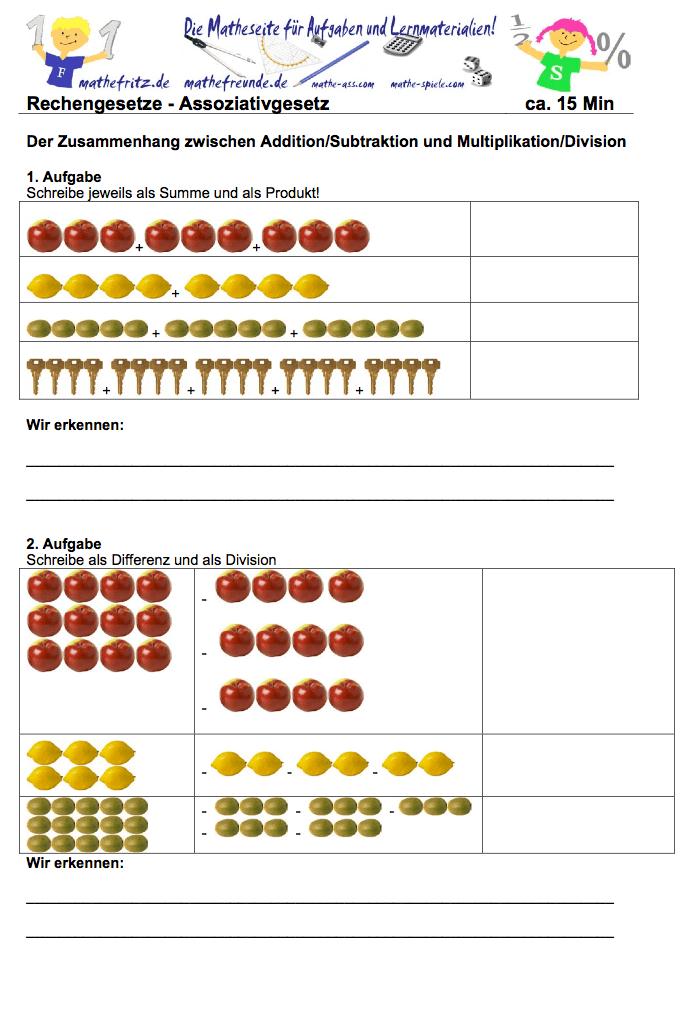 Assoziativgesetz Aufgaben | Mathefritz Aufgaben zum Assoziativgesetz