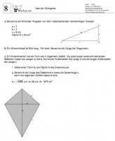 Aufgabenblätter Matheaufgaben Satz des Pythagoras