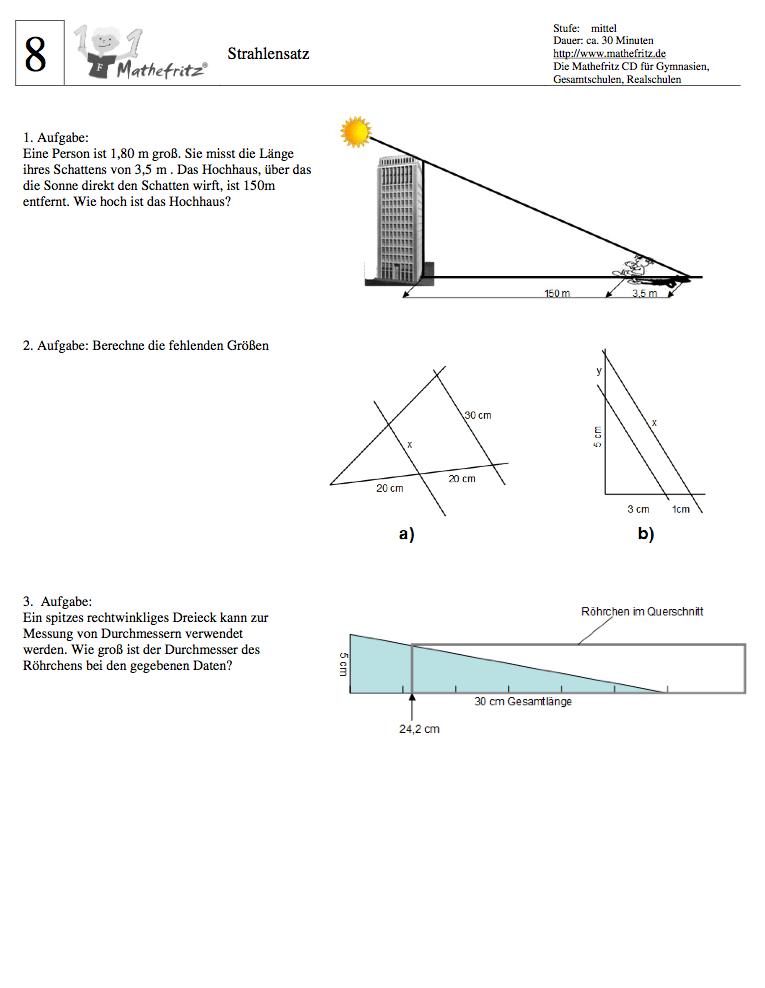 Strahlensatz Formel Aufgaben Klasse 9: Matheaufgaben Strahlensatz