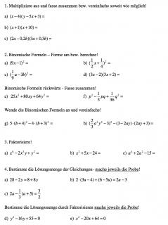 Arbeitsblätter zu den binomischen Formeln