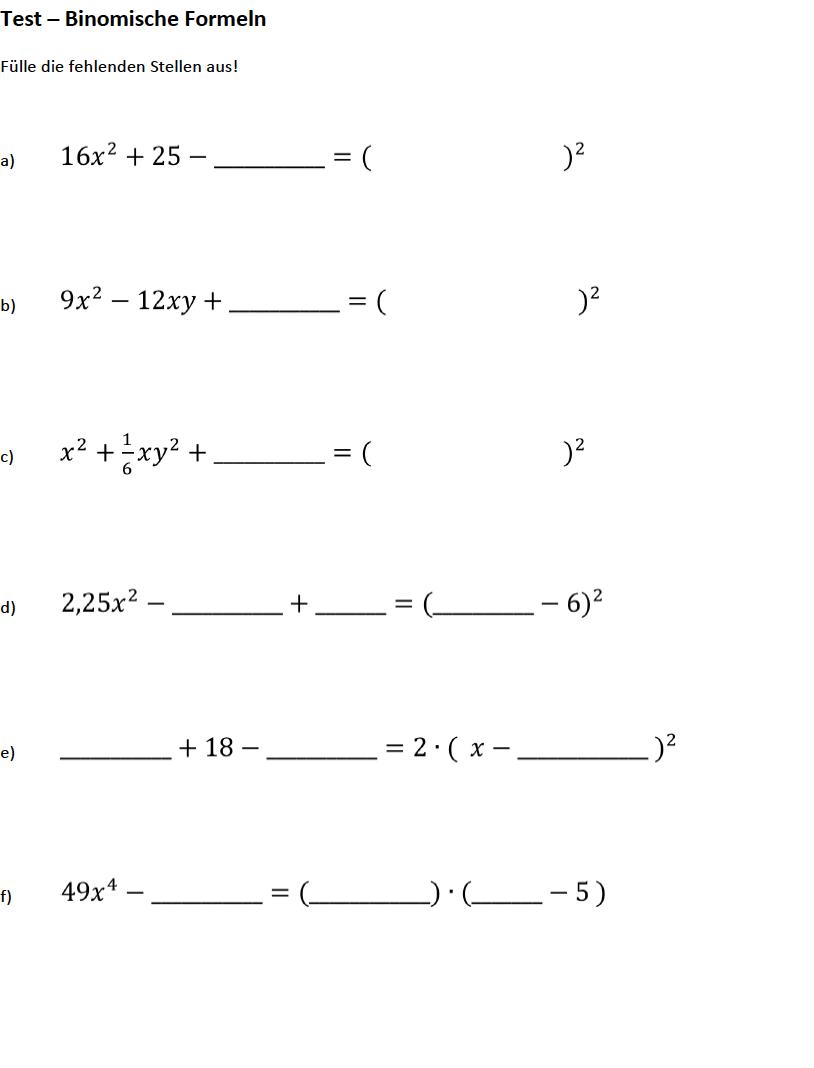 Arbeitsblatt Binomische Formeln : Binomische formeln rückwärts aufgaben aufgabenblatt