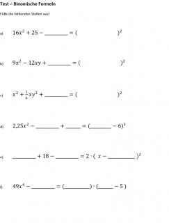 Arbeitsblatt zu binomischen Formeln rückwärts