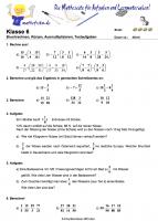 Bruchrechnen Klasse 6 Klassenarbeit zum Ausdrucken