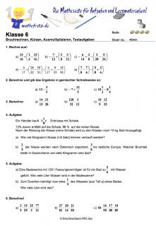 Arbeitsblätter Bruchrechnung in Klasse 5