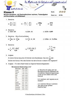 Klassenarbeit Bruchrechnung Klasse 6