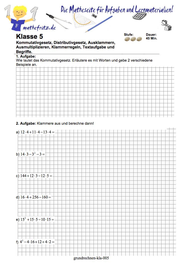 Grundrechenarten Übungen Klasse 5: Matheaufgaen zu Grundrechenarten