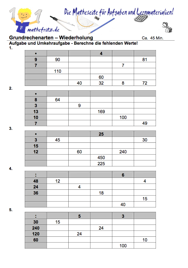Arbeitsblätter Multiplikation Division Klasse 5 zum ausdrucken ...