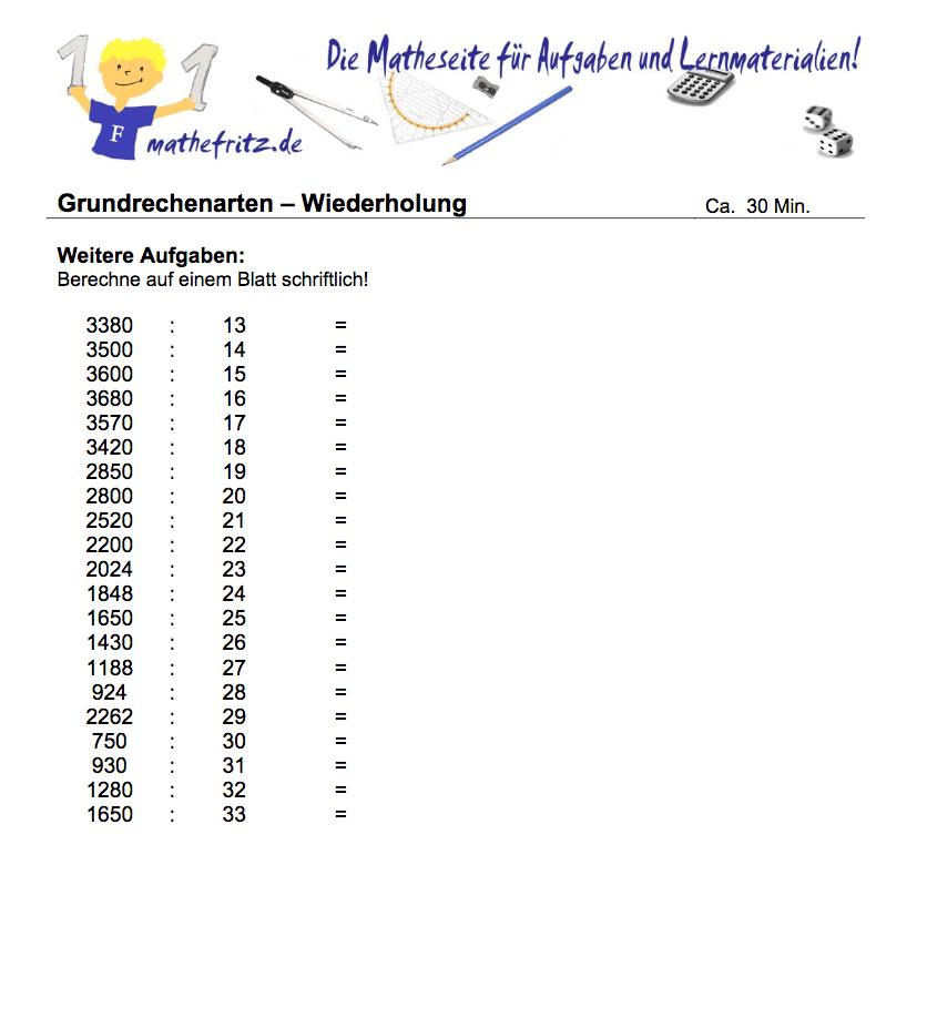 Multiplikation Division Arbeitsblatt Klasse 5: u00dcbungen Division