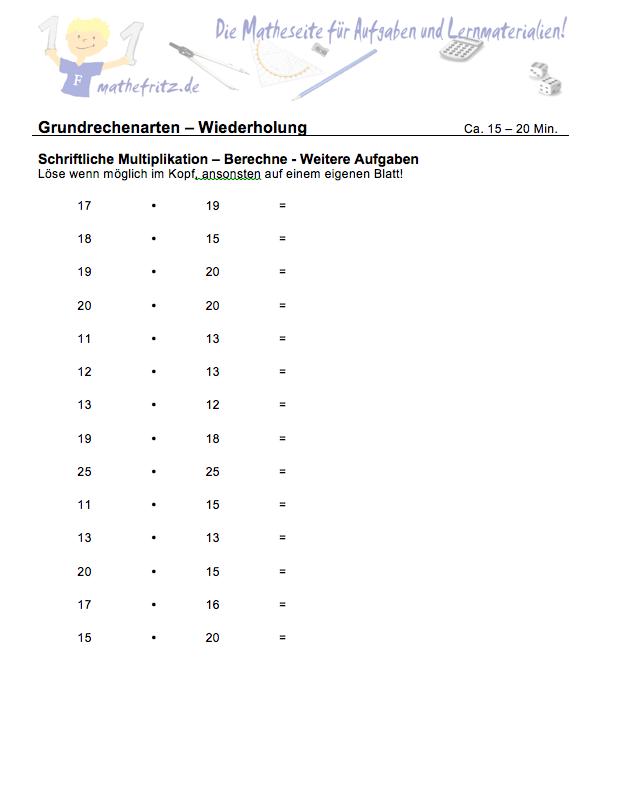 multiplikation division klasse 5 aufgaben multiplikation