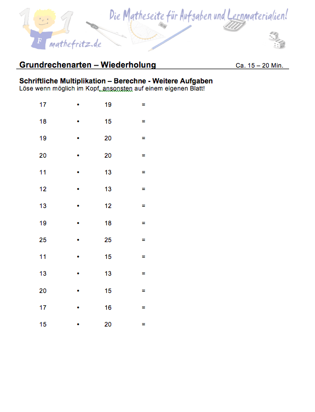 Multiplikation Division Klasse 5: Aufgaben Multiplikation + Division
