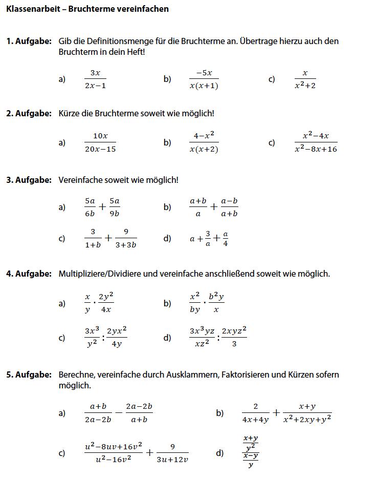 Bruchterme vereinfachen Aufgaben | Bruchterme berechnen Klasse 8