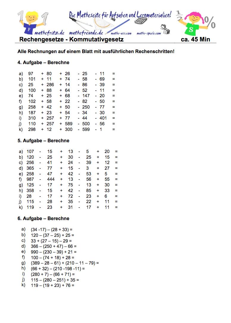 Kommutativgesetz Aufgaben Klasse 5: Matheaufgaben Vertauschungsgesetz
