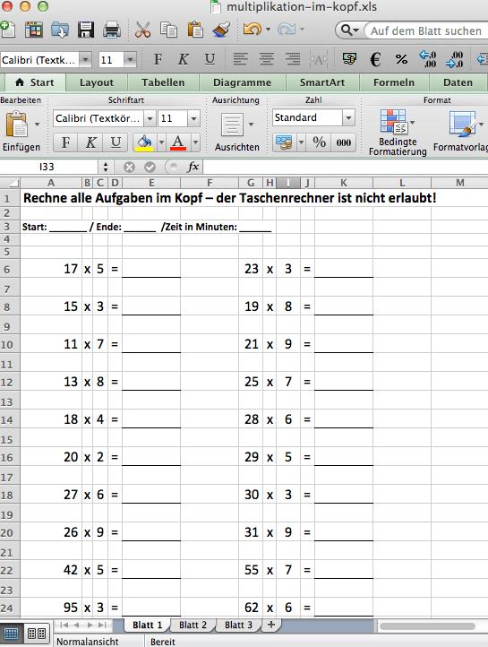 Kopfrechenaufgaben üben - Aufgaben zur Multiplikation im Kopf