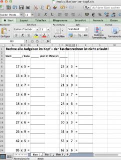 Excel Vorlage zum Erstellen von Kopfrechenaufgaben Arbeitsblättern