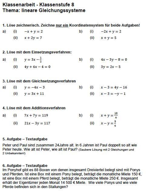 Lineare Gleichungssysteme lösen: Aufgaben lineare Gleichungssysteme