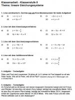 Lineare Gleichungssysteme Klassenarbeit zum Ausdrucken