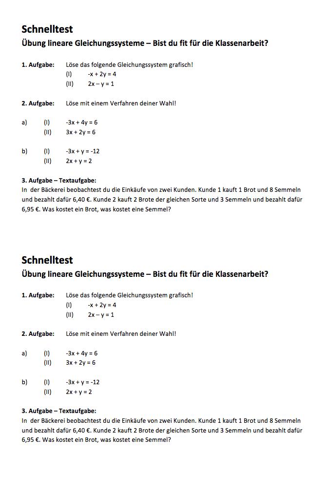 lineare Gleichungssysteme Aufgaben PDF: Aufgabenblatt