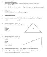 Arbeitsblätter und Klassenarbeiten zum Satz des Pythagoras