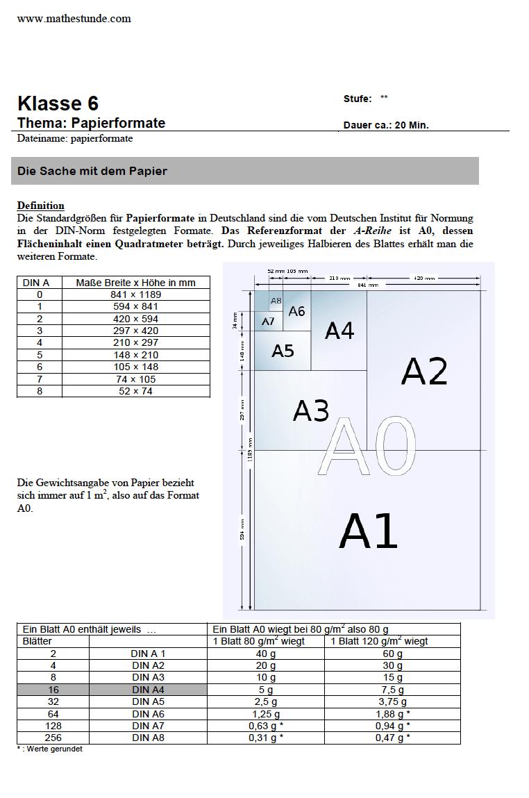 Arbeitsblatt Flächenbrechnung | Papierformate DIN A0 bis DIN A7