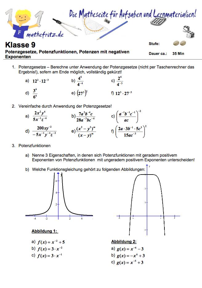 Potenzgesetze Aufgaben mit Lösungen: Matheaufgaben zu Potenzgesetzen