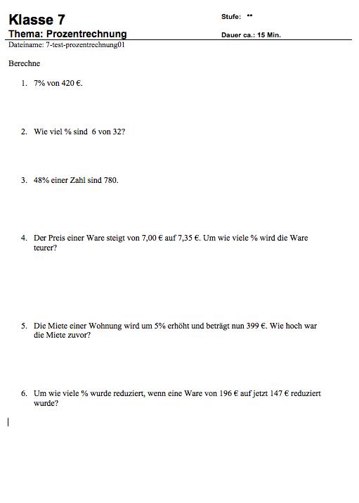 Prozentrechnung Aufgaben PDF zum Ausdrucken: Übungen Prozentrechnung